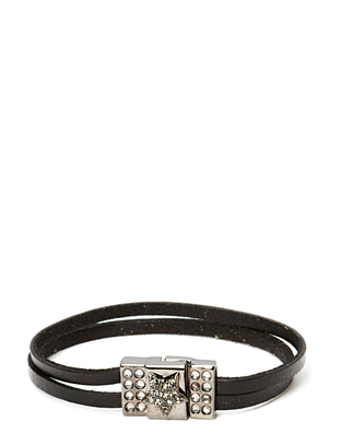 Pear Star Flat Gunmetal Bracelet - Black