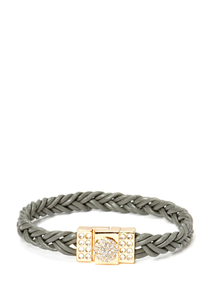 Pear Circle Braided Gold Bracelet - Grey