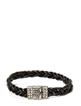 Pear Star Braided Gunmetal Bracelet - Black