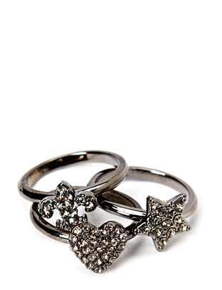 Pear Ring Set - Gunmetal