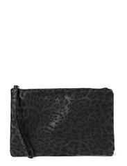 Frida Flat Clutch - Leopard Black