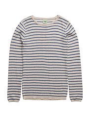 Striped Rib Blouse - ECRU/BLUE