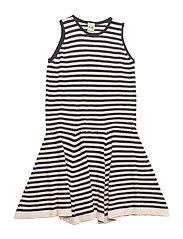 Striped Dress - ECRU/NAVY