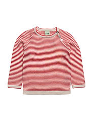 Baby Striped Blouse - ECRU/RED