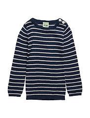 Baby Striped Rib Blouse - DARK BLUE/ECRU