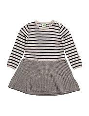 Baby Dress - ECRU/NAVY/LIGHT GREY