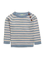 Baby Sweater - DUSTY BLUE/ECRU