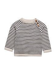Baby Sweater - ECRU/NAVY