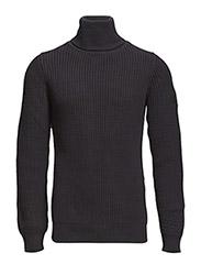 Avihu turtle knit l - MAZARINE BLUE/BLACK