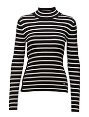 Iria stripe turtle knit wmn l - DK BLACK/OFF WHITE