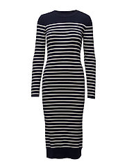 Exly stripe r dress knit wmn l - SARTHO BLUE/OFF WHITE