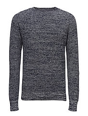 Jayvi r knit l - SARTHO BLUE/IVORY