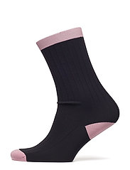 Classon Rib Ankle Socks - BLACK