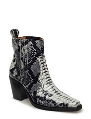 Nellie Ankle Boots - BLACK/WHITE SNAKE
