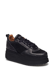 Naomi Leather Sneakers - BLACK