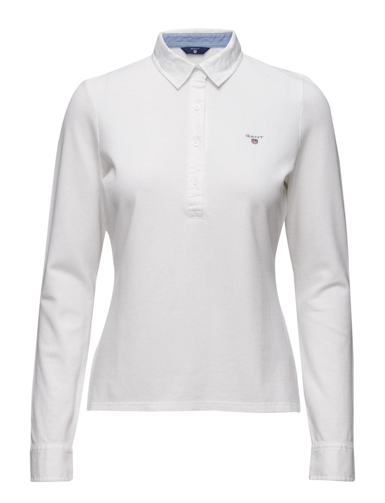 Oxford Pique Ls Rugger GANT Polo t-shirts til Damer i hvid
