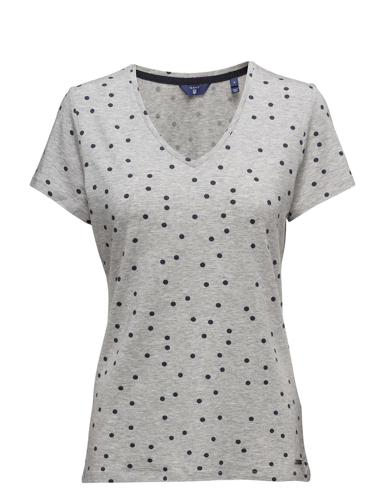 O. Dotted Fluid V-Neck T-Shirt GANT Kortærmede til Damer i Light Grey Melange