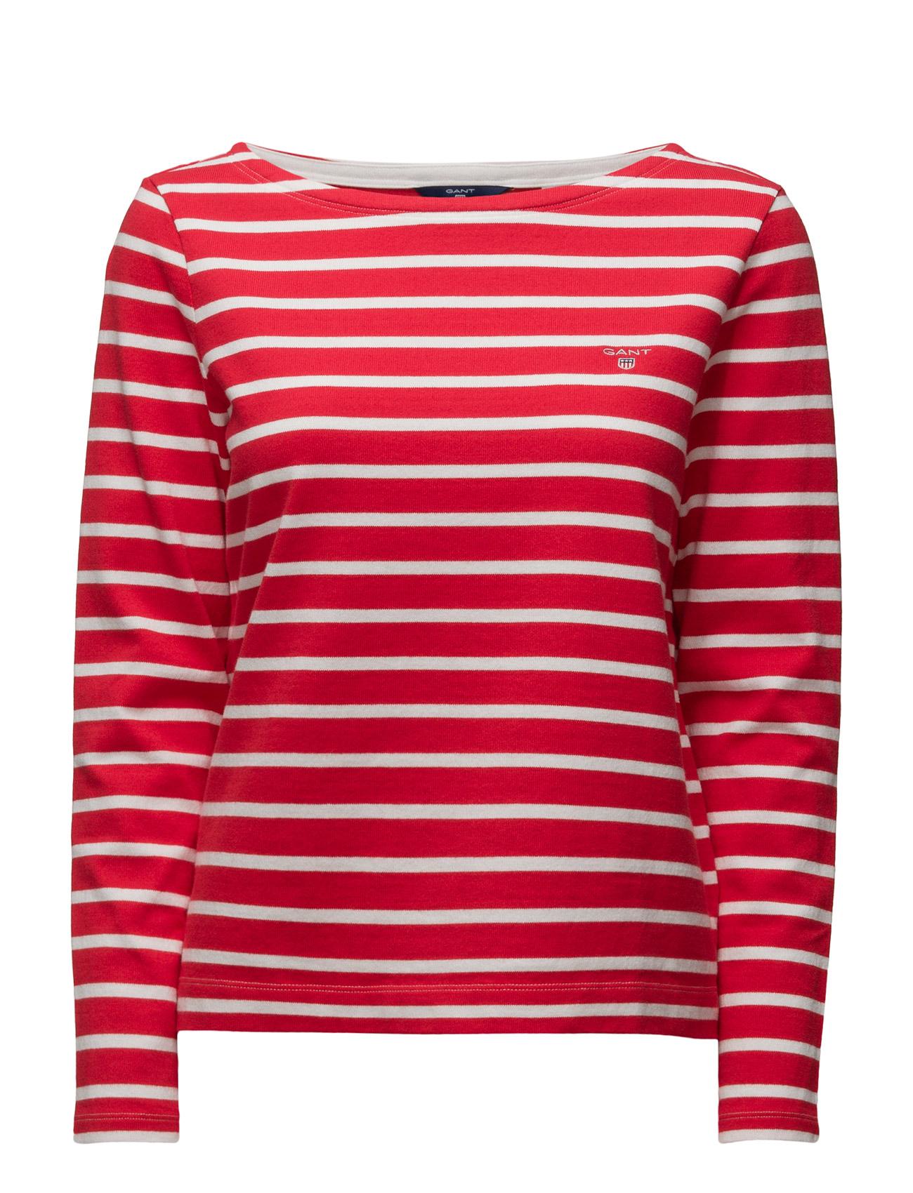 Striped Boatneck Jumper GANT T-shirts & toppe til Kvinder i Bright Red