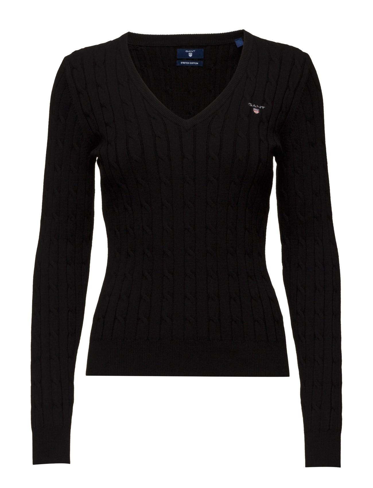 Stretch Cotton Cable V-Neck GANT Sweatshirts til Damer i Sort