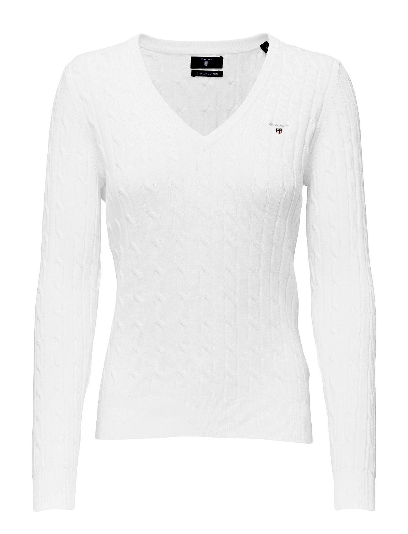 Stretch Cotton Cable V-Neck GANT Sweatshirts til Damer i