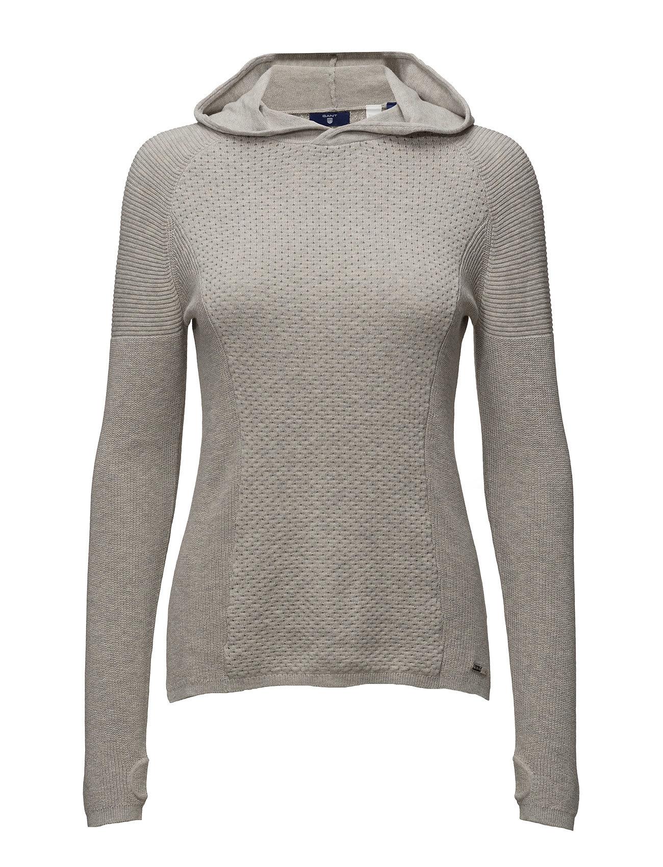 O1. Sporty Textured Cotton Hoodie GANT Striktøj til Kvinder i Light Grey Melange