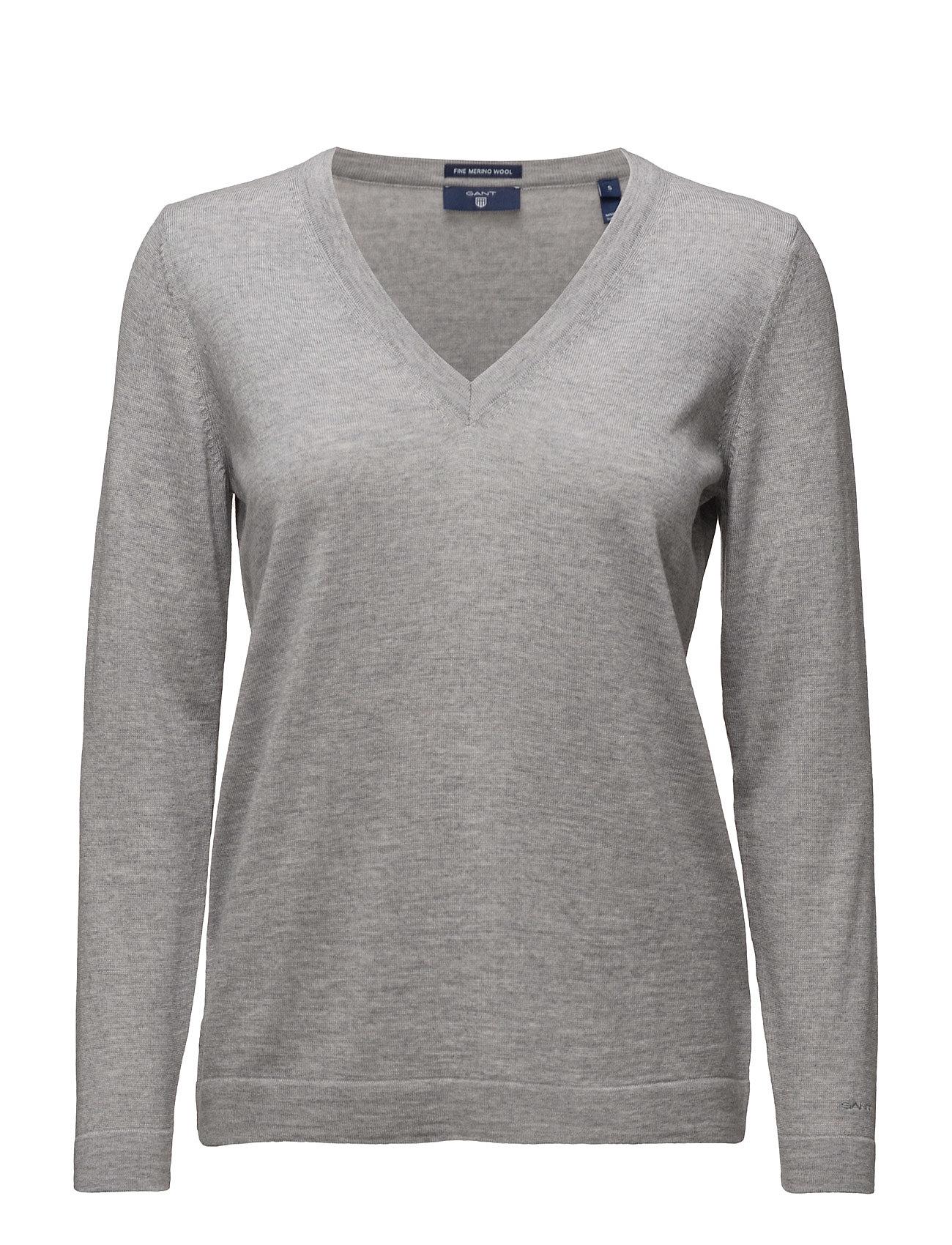 Fine Merino Wool V-Neck GANT Sweatshirts til Damer i Light Grey Melange