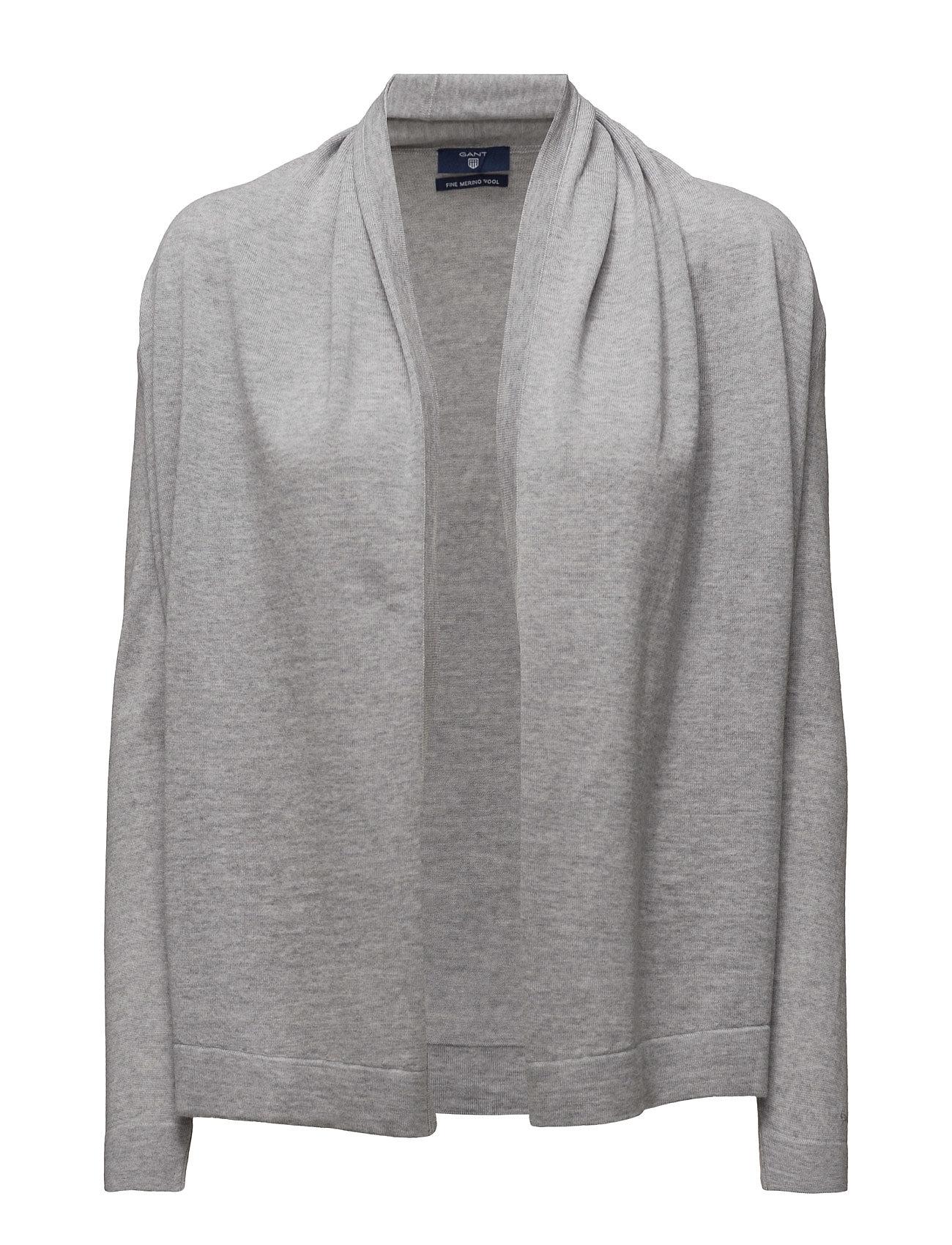 Fine Merino Wool Draped Cardigan GANT Cardigans til Damer i Light Grey Melange