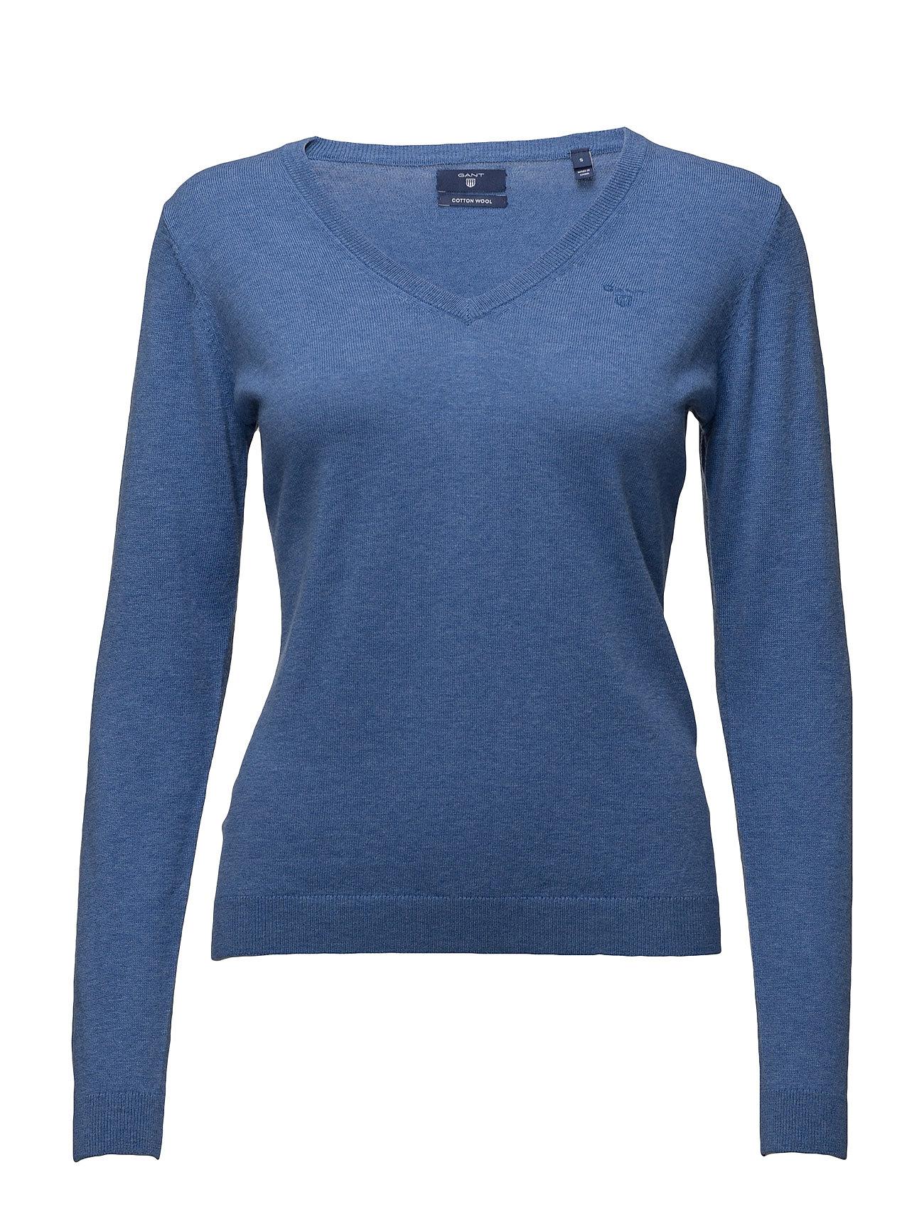 Cotton Wool V-Neck GANT Sweatshirts til Damer i Blå Melange