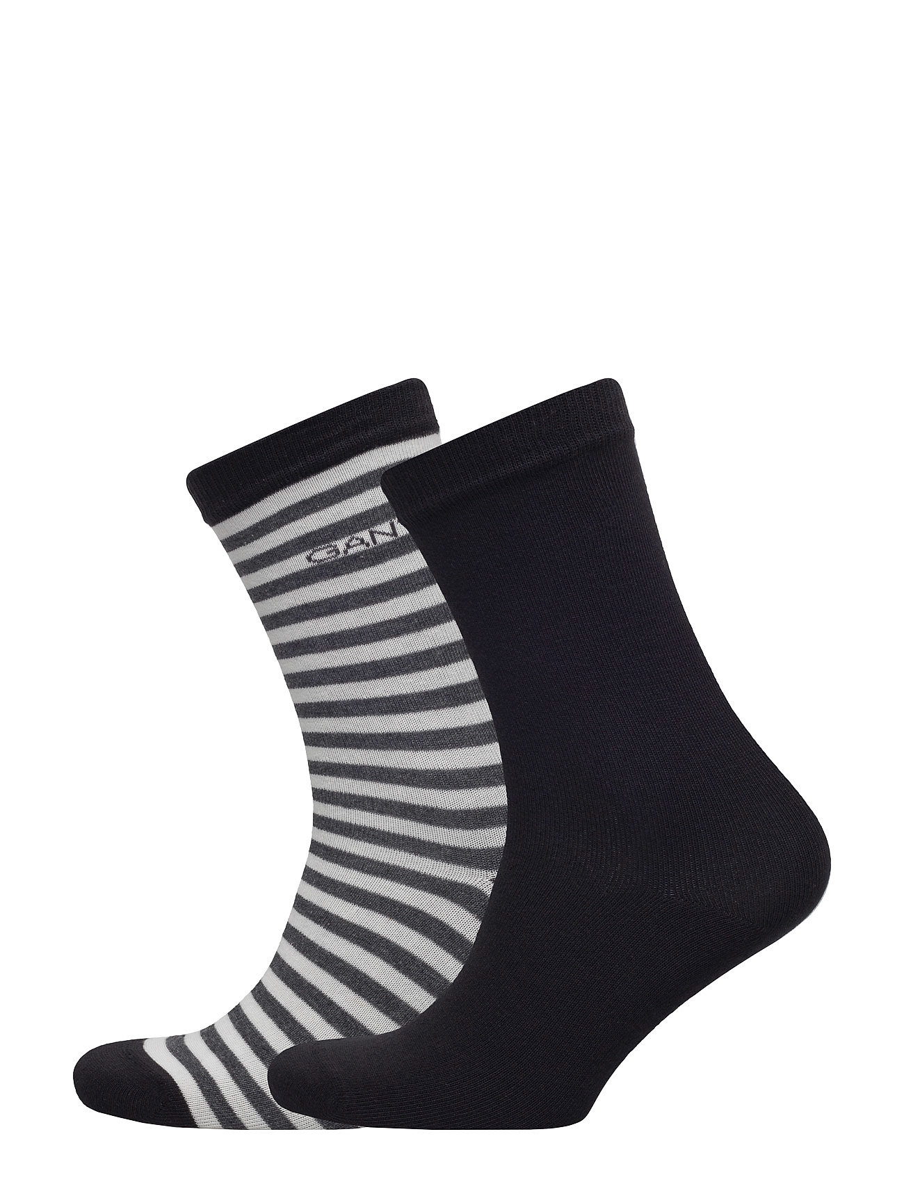 01. 2 Pack Solid And Barstripe Sock GANT Strømpebukser til Damer i Sort