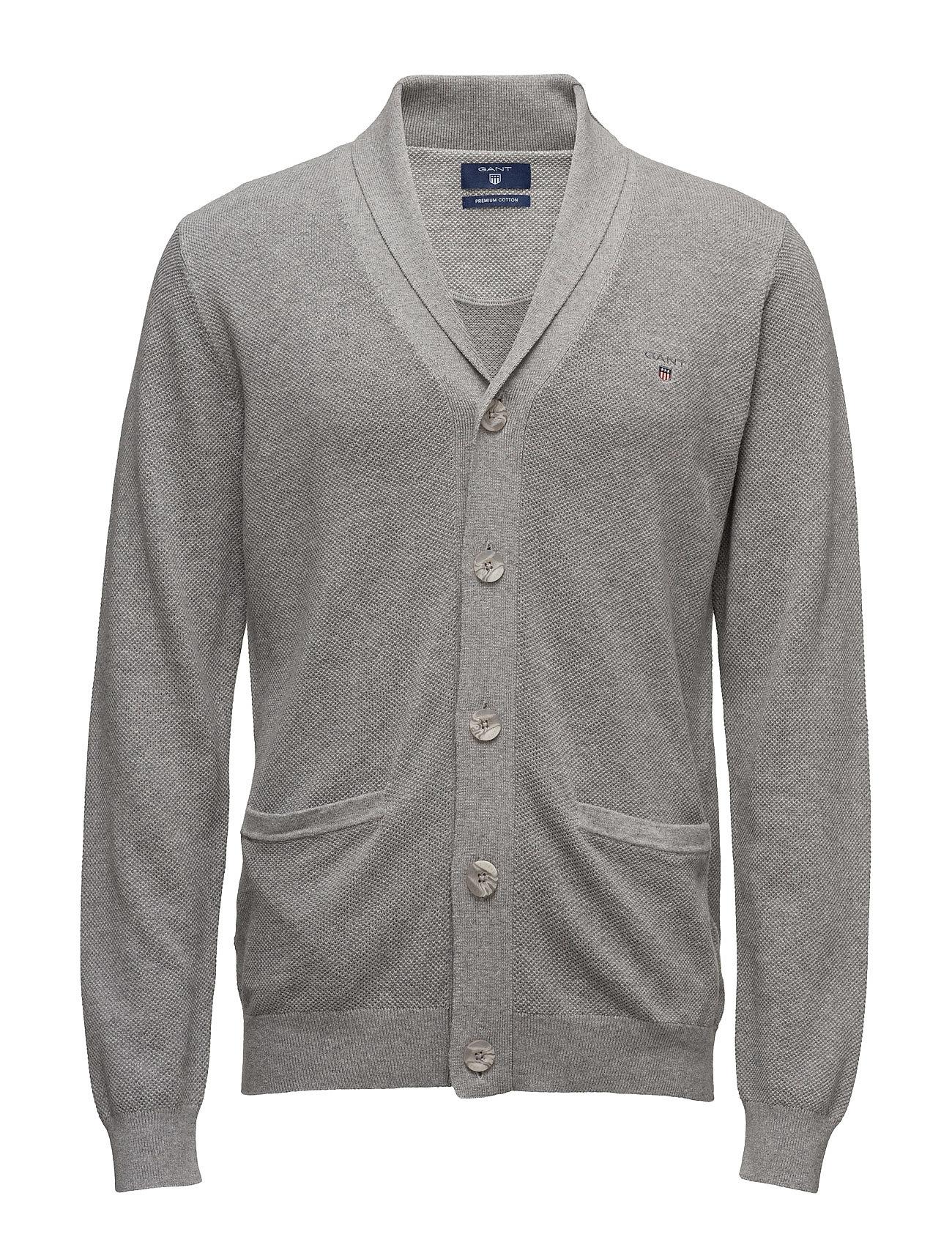 Cotton Pique Shawl Cardigan GANT Cardigans til Herrer i Grey Melange
