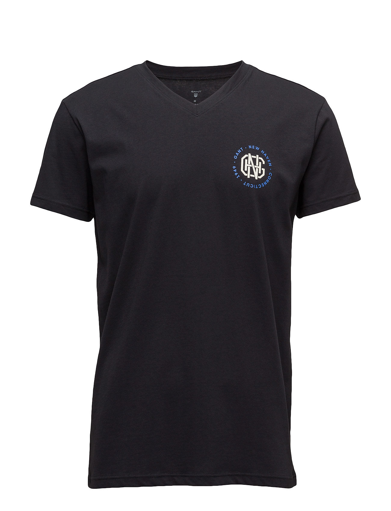V-Neck T-Shirt Small Print GANT Kortærmede til Herrer i Sort