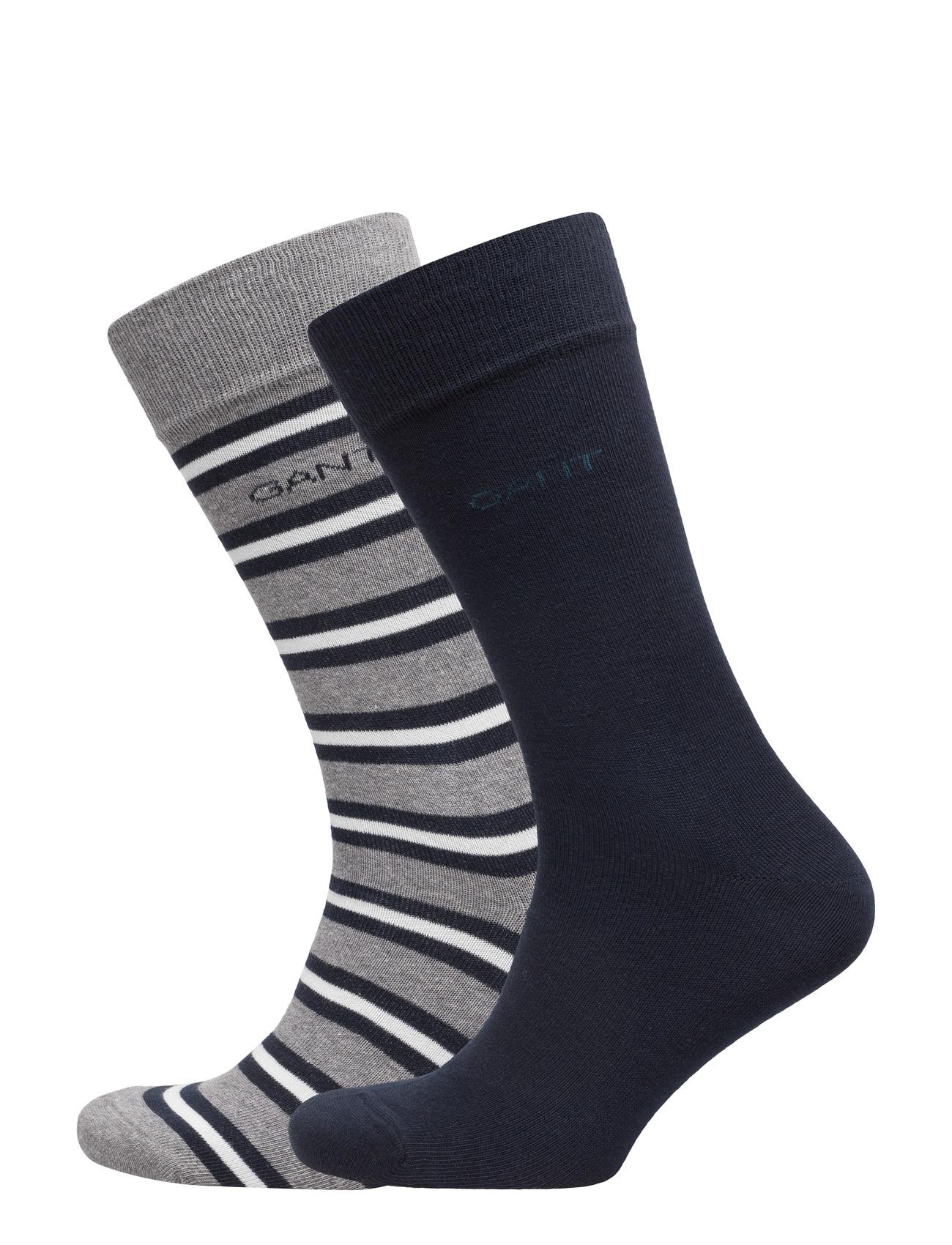 2-Pack Solid & Striped Socks Gift Box GANT Sokker til Herrer i Grey Melange