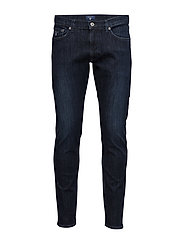 SLIM TAPERED AGILE JEAN - DARK BLUE WORN IN