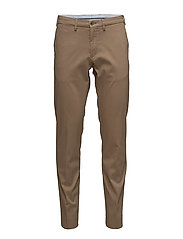 O TAILORED SLIM SATIN SLACKS - SEPIA KHAKI