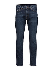 SLIM STRAIGHT GANT JEAN - DARK BLUE WORN IN