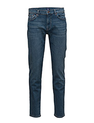 SLIM STRAIGHT GANT JEAN - MID BLUE WORN IN