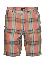O2. REGULAR MADRAS SHORTS - STRONG CORAL