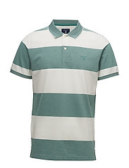 O1. 4-COL OXFORD STRIPE SS RUGGER - EMERALD GREEN