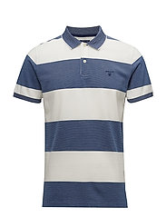 O1. 4-COL OXFORD STRIPE SS RUGGER - PERSIAN BLUE