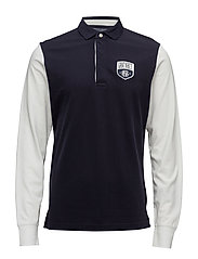 O1. COLOR BLOCK PIQUE LS RUGGER - EVENING BLUE