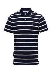 O2. BRETON STRIPE PIQUE SS RUGGER - EVENING BLUE