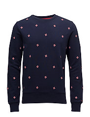 OP1. STAR EMB C-NECK SWEAT - EVENING BLUE