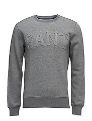 GANT EMBOSSED C-NECK SWEAT - DARK GREY MELANGE
