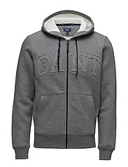 GANT EMBOSSED FULL ZIP SWEAT HOODIE - DARK GREY MELANGE