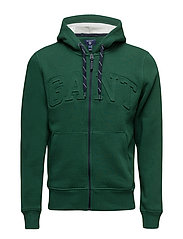GANT EMBOSSED FULL ZIP SWEAT HOODIE - IVY GREEN
