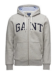 O2. GANT OUTLINE FULL ZIP HOODIE - LIGHT GREY MELANGE