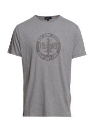 E. EARLY FALL PRINTED T-SHIRT - DARK GREY MELANGE