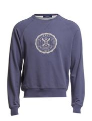 PRINTED C-NECK SWEAT - ORION BLUE