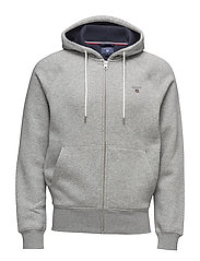 GANT ORIGINAL FULL ZIP SWEAT HOODIE - GREY MELANGE