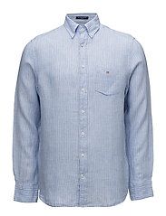 THE LINEN PINSTRIPE REG BD - CAPRI BLUE